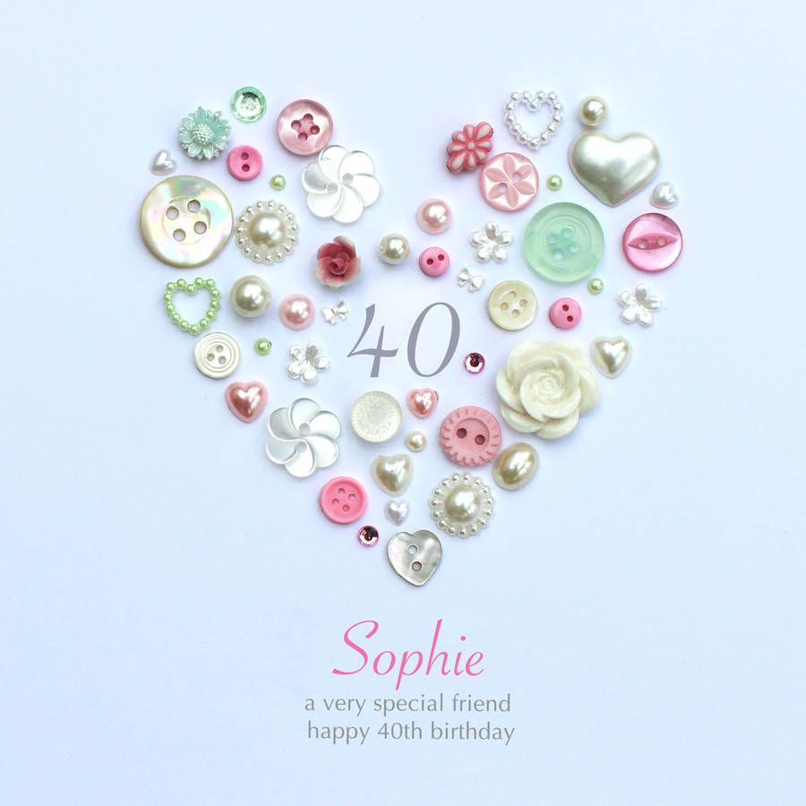 Personalised 40th Birthday Button Heart 40th Birthday Cards Button Crafts 40th Birthday Gifts