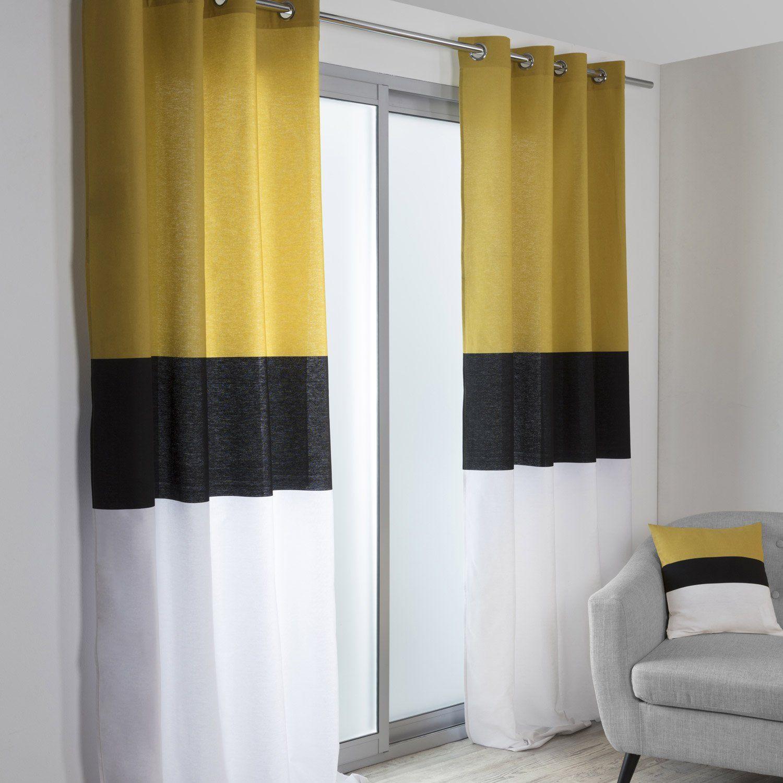 Salon Noir Blanc Jaune rideau tamisant, yellow, noir, blanc et jaune, l.140 x h.260