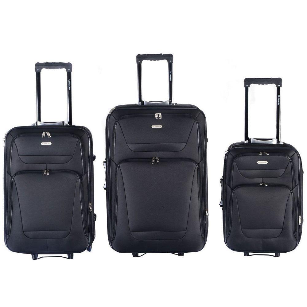 Expandable 3 PCs Luggage Travel Set Trolley Bag Suitcase 2 Wheels -Black