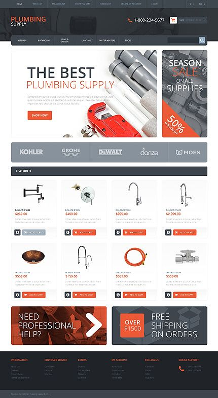 Online #Plumbing Supply Store theme. #OpenCart #ResponsiveDesign   e ...