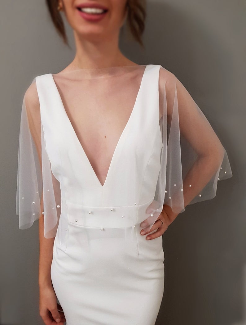 Slip On Bridal Capelet Audrey Capelet Wedding Cover Up White Pearl Tulle Capelet Pearl Tulle