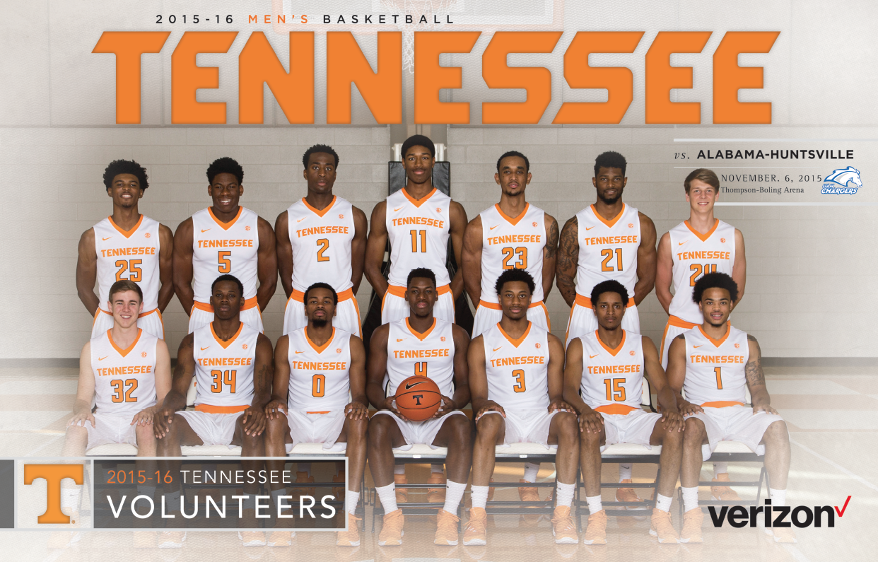 The 2015 16 Tennessee Men S Basketball Vs Alabama Huntsville November 6 Roster Card Features The 2015 16 Tennessee Volunteers Huntsville Alabama Tennessee