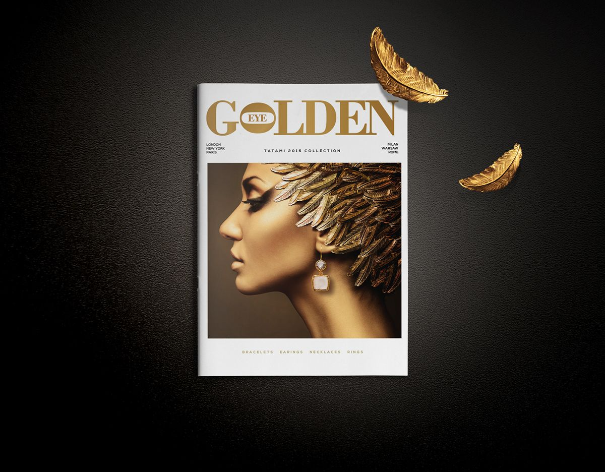 Golden Eye Catalogue for Polish jewellery brand TATAMI. Designed to guide store staff, stylists and new sales partners through the extensive collection of gold bracelets, rings, necklaces and earrings .The Catalogue features 60 pages of beautiful, stateme…