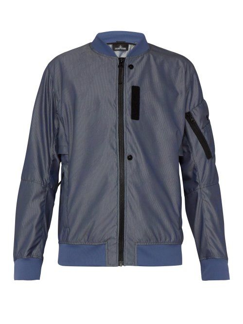 3f4ff8725464b5 STONE ISLAND SHADOW PROJECT STONE ISLAND SHADOW PROJECT - STRIPED JACQUARD  BOMBER JACKET - MENS - BLUE.  stoneislandshadowproject  cloth