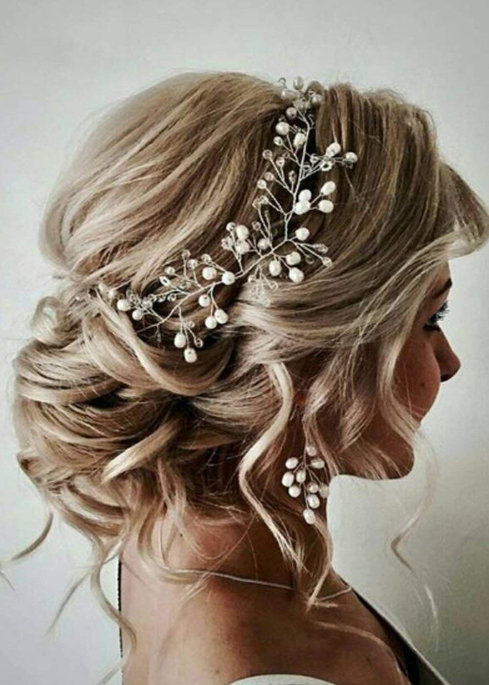 Fxmimior Bridal Rose Gold Leaf Headband Earrings Set Wedding Hair
