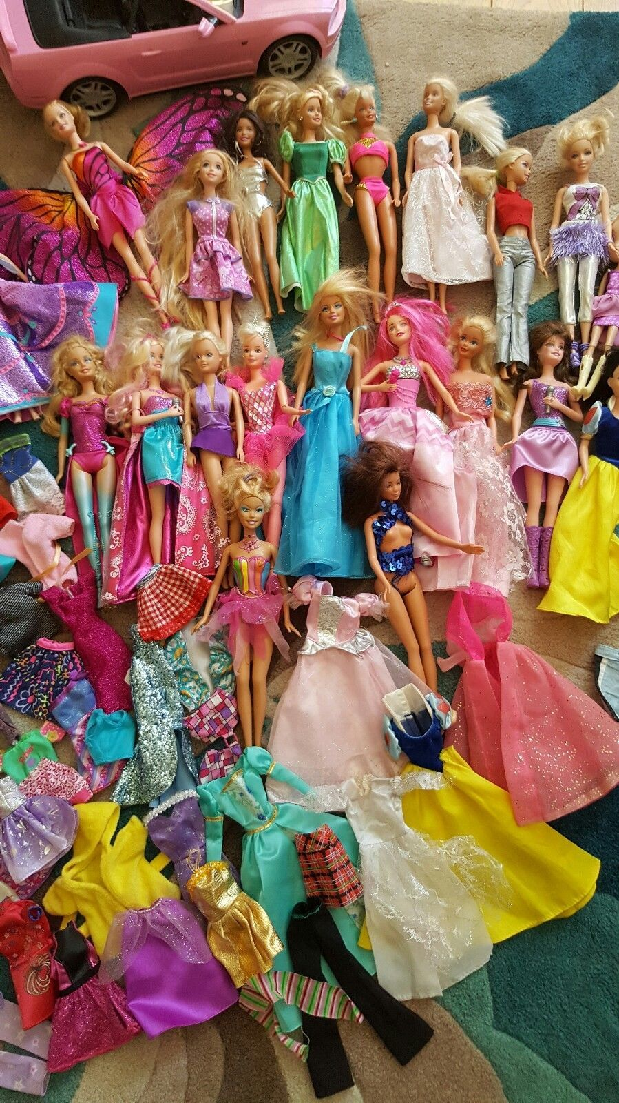 Large Barbie Doll Bundle Clothes Horse Car
