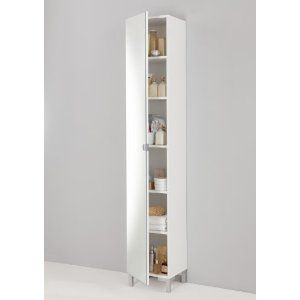 Tall White Shaker Style Bathroom Cabinet Free Standing Amazon Co Uk Kitchen Home Tall Bathroom Storage Tall White Bathroom Cabinet Bathroom Furniture Uk