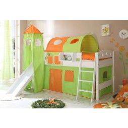 Cama Alta Con Tobogan Naranja Y Verde Minimoi Camas Altas Camas Espacio De Juegos