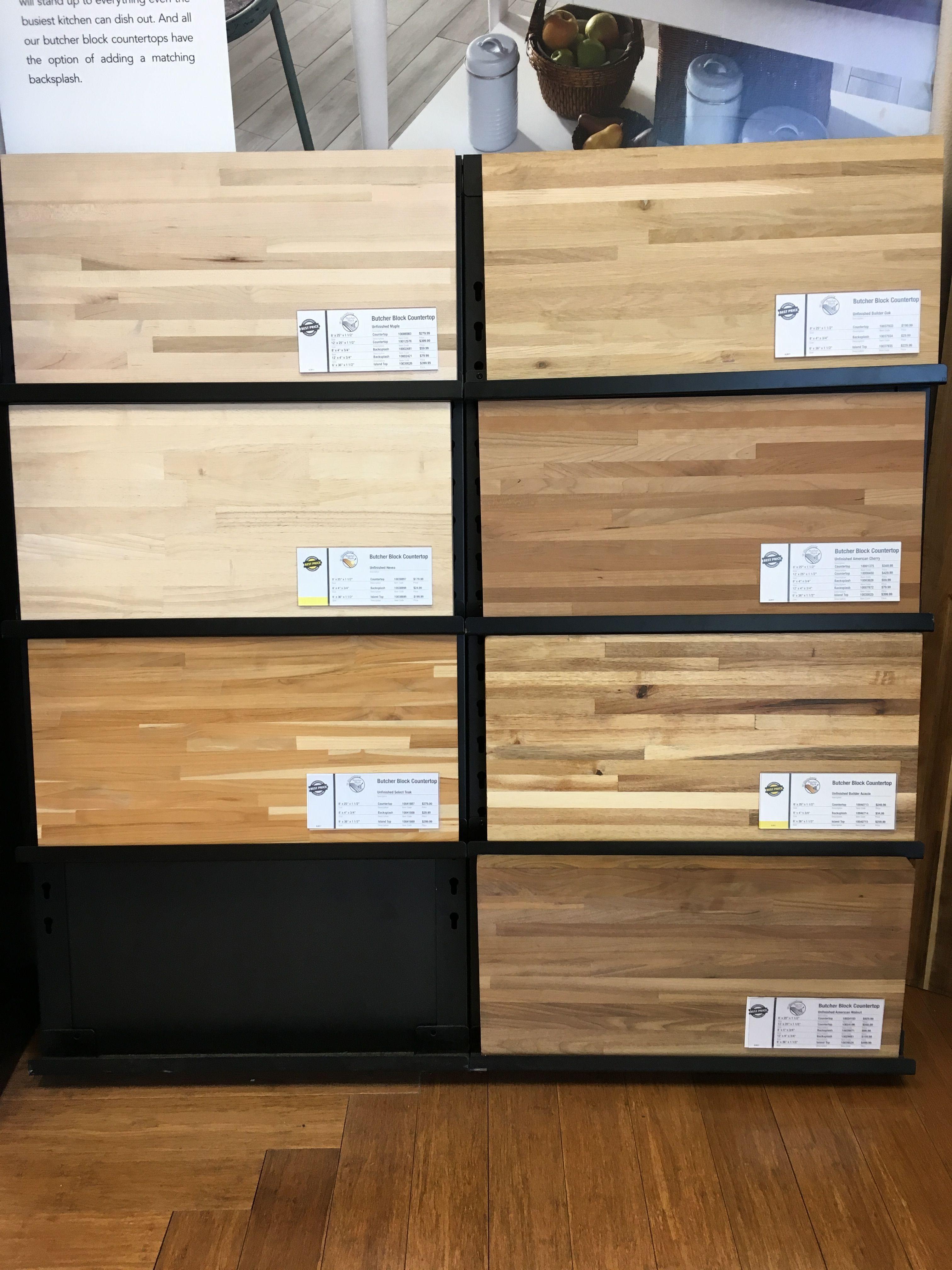 Butcher block samples from Lumber Liquidators Lumber