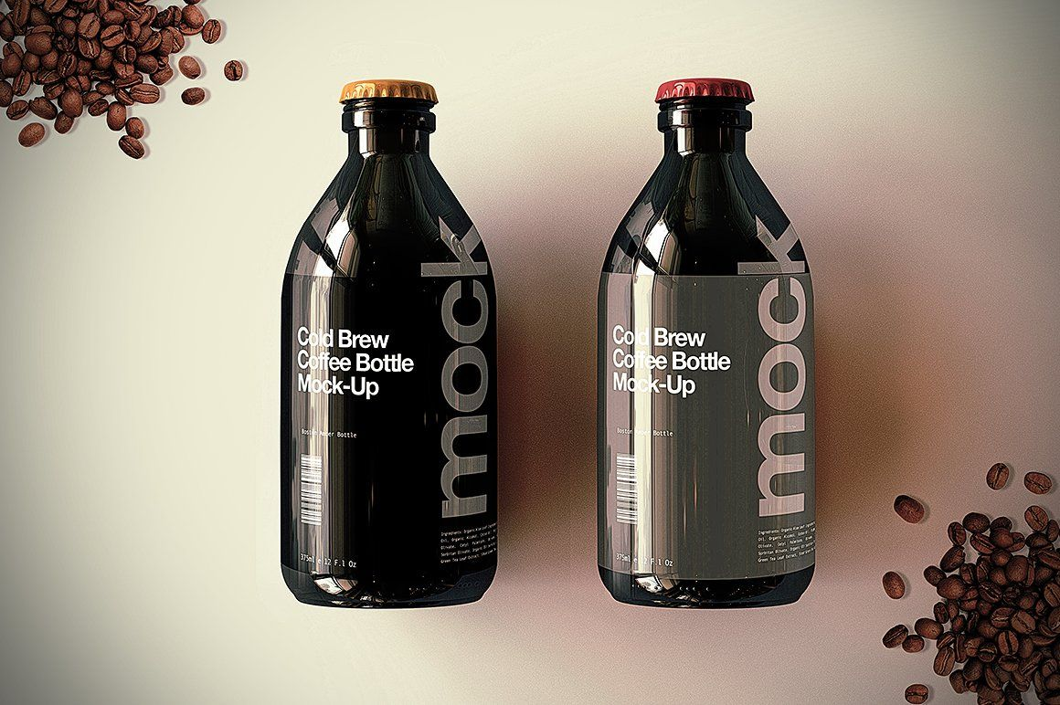 Cold Brew Coffee Bottle MockUp packagedcoloureditable