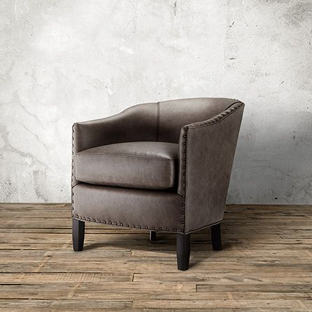 Giles Leather Chair In Evolution Silver | Arhaus Furniture