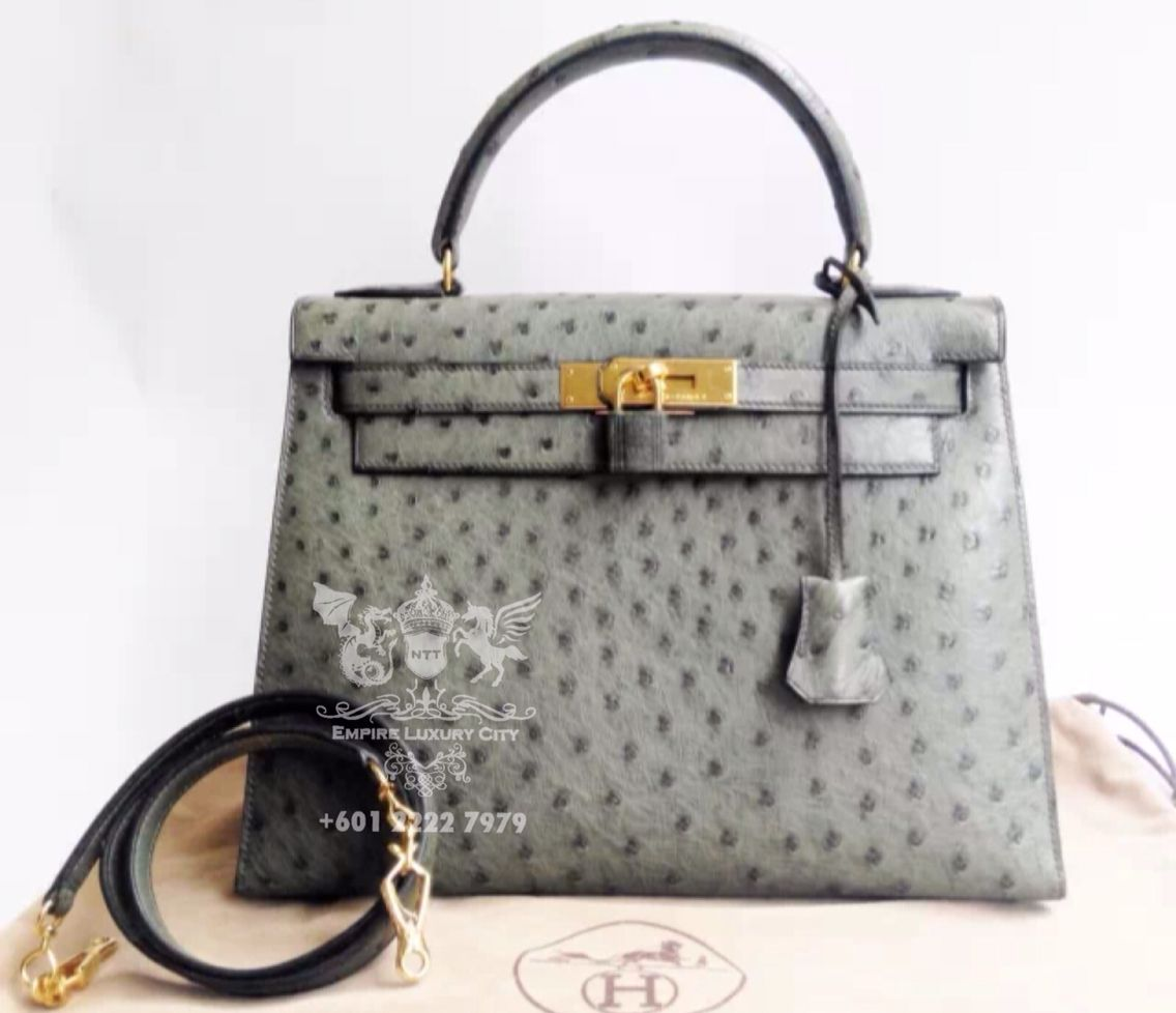 3cb12ff823bf ELC K28 SELLIER OSTRICH DEAL 4 TODAY! HERMES KELLY SELLIER OSTRICH VERT  OLIVE GOLD HARDWARE. GOOD DEAL FOR EXOTIC ENTRY LEVEL