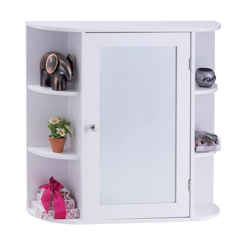 Costway Armoire A Pharmacie Armoire De Toilette Armoire Pour Salle De Bains Murale Avec Portes Et Miroirs 66x17x63cm 728370709643 Locker Storage Bathroom Medicine Cabinet Storage
