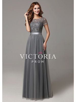 Modest Grey Lace Tulle A-Line Long Short Sleeve Bateau Prom Dress - US$ 101.99 - Style P3094 - Victoria Prom