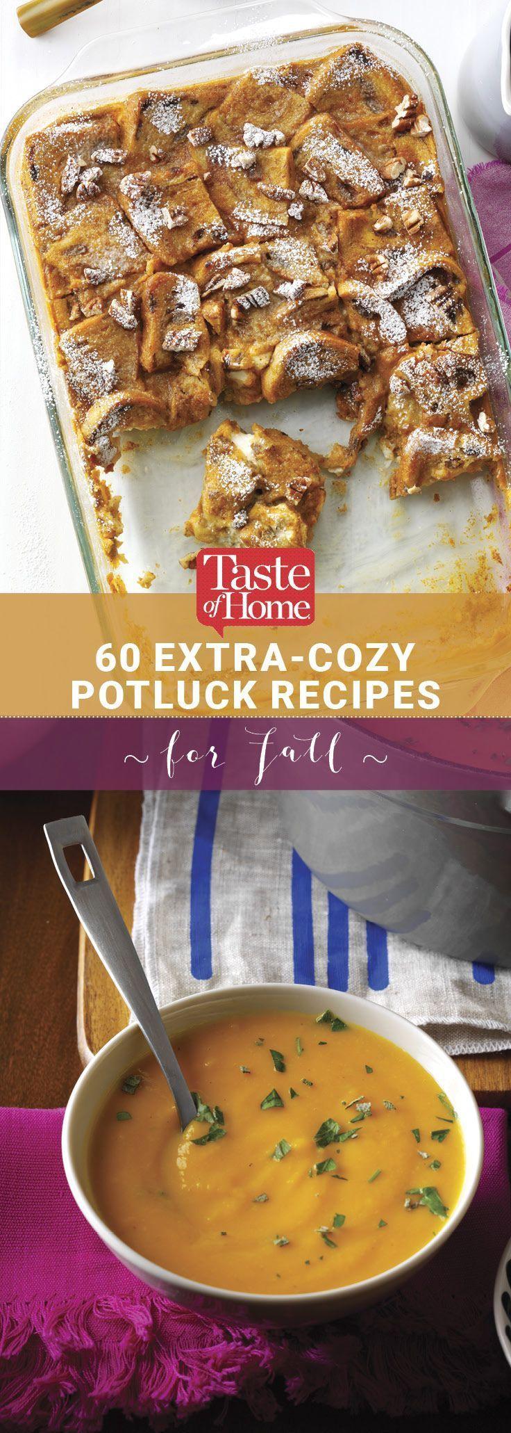 75 Fall Potluck Ideas That'll Make You Feel Positively Cozy #halloweenpotluckideas 60 Extra-Cozy Potluck Recipes for Fall from Taste of Home #halloweenpotluckideas