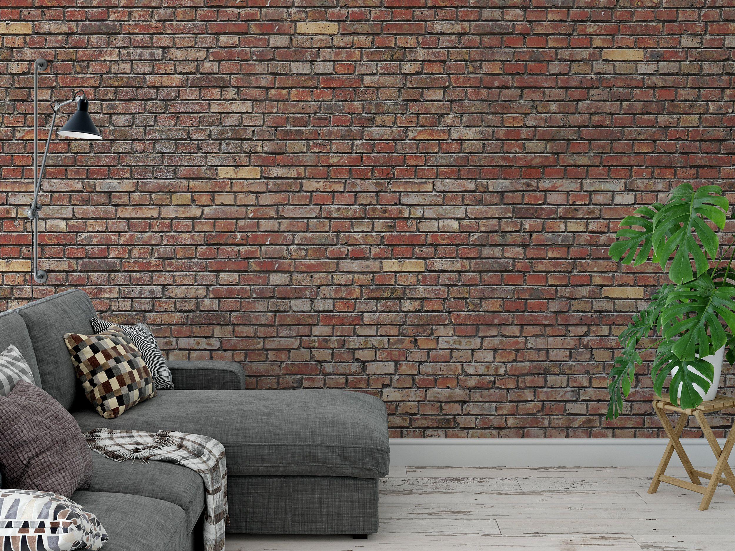 Removable Peel And Stick Wallpaper Red Brick Pattern Etsy Brick Patterns Red Brick Wallpaper Red Bricks