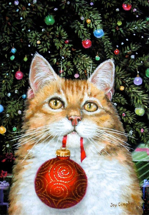 Have A Purrfect Christmas Season Christmas Cat Joy Campbell Christmas Art Christmas Illustration Christmas Animals