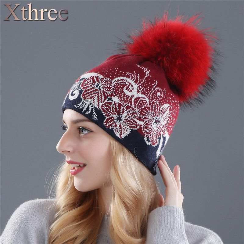 Xthree winter beanies wool knitting hat for women real mink fur pom poms  Skullies girls hat a925d5bbc689