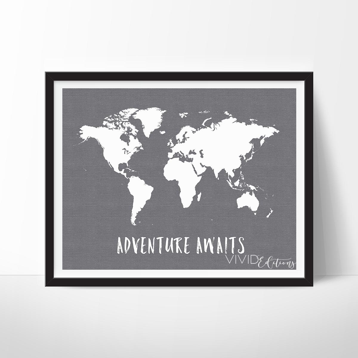 adventure awaits world map gray
