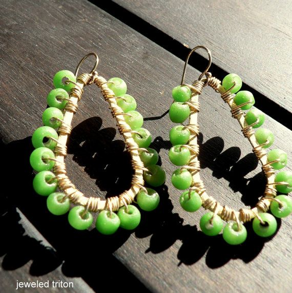 spring greens recycled glass and gold drop hoops by jeweledtriton, $80.00