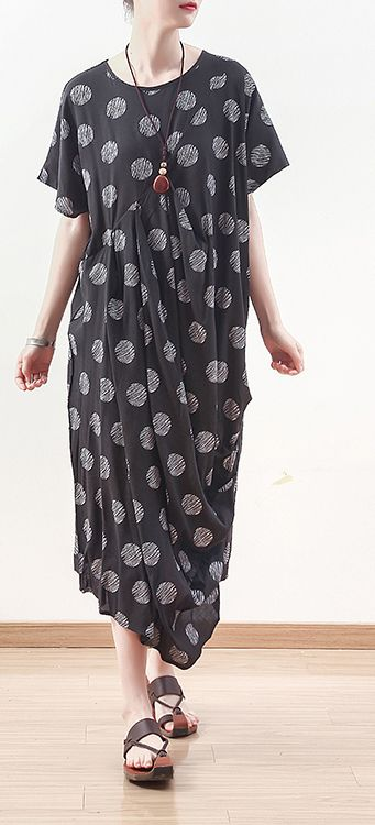 Photo of French black prints linen dress Casual Sewing draping long summer Dresses