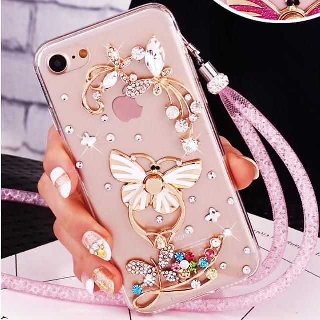7b4f427b80c Luxury Girl Woman Lady Crystal Diamond Cover+3D Bling Glitt Phone ...