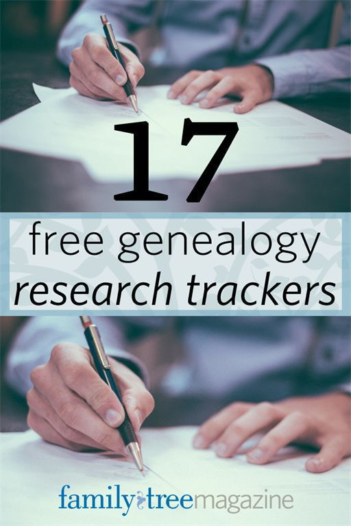 17 Free Genealogy Research Trackers from http://FamilyTreeMagazine.com