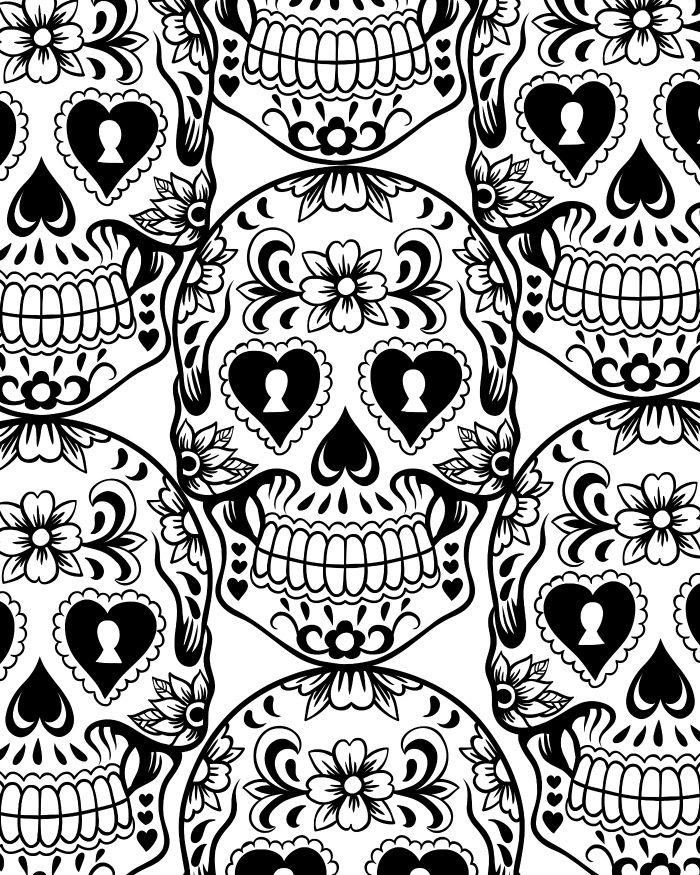 Dia De Los Muertos Sugar Skull Coloring Page   The Lovely Bones ...