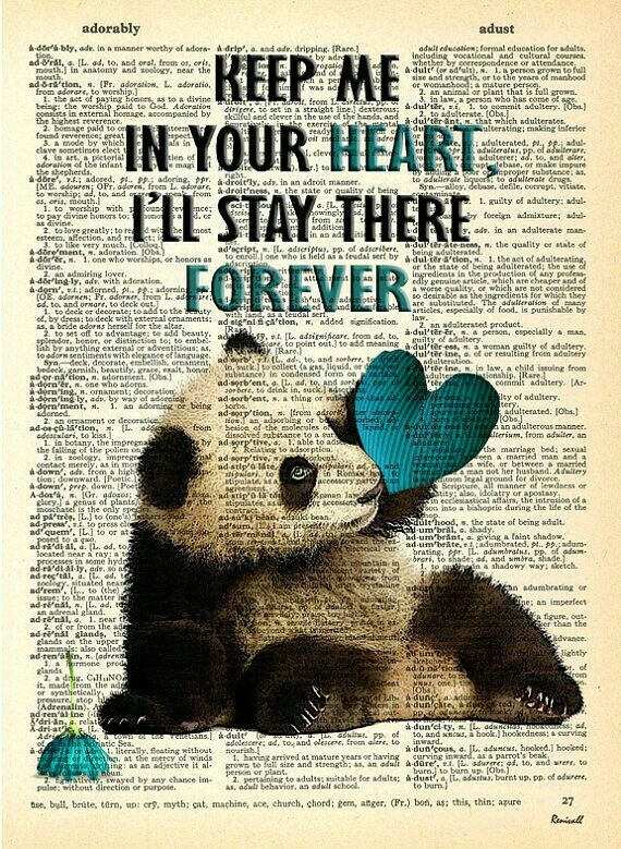 Panda Heart Balloons Print Vintage Dictionary Page Wall Art Picture Love Cute