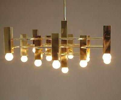brass Boulanger chandelier pendant 13 bulb vintage light Belgian design Sciolari