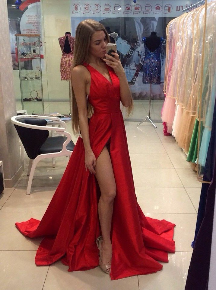 A-Line V-Neck Sweep Train Sleeveless Split-Side Red Satin Prom Dress ...