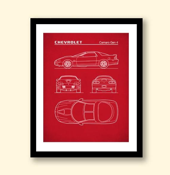 Auto Art, Patent Prints, Chevrolet Camaro Gen 4 Blueprint
