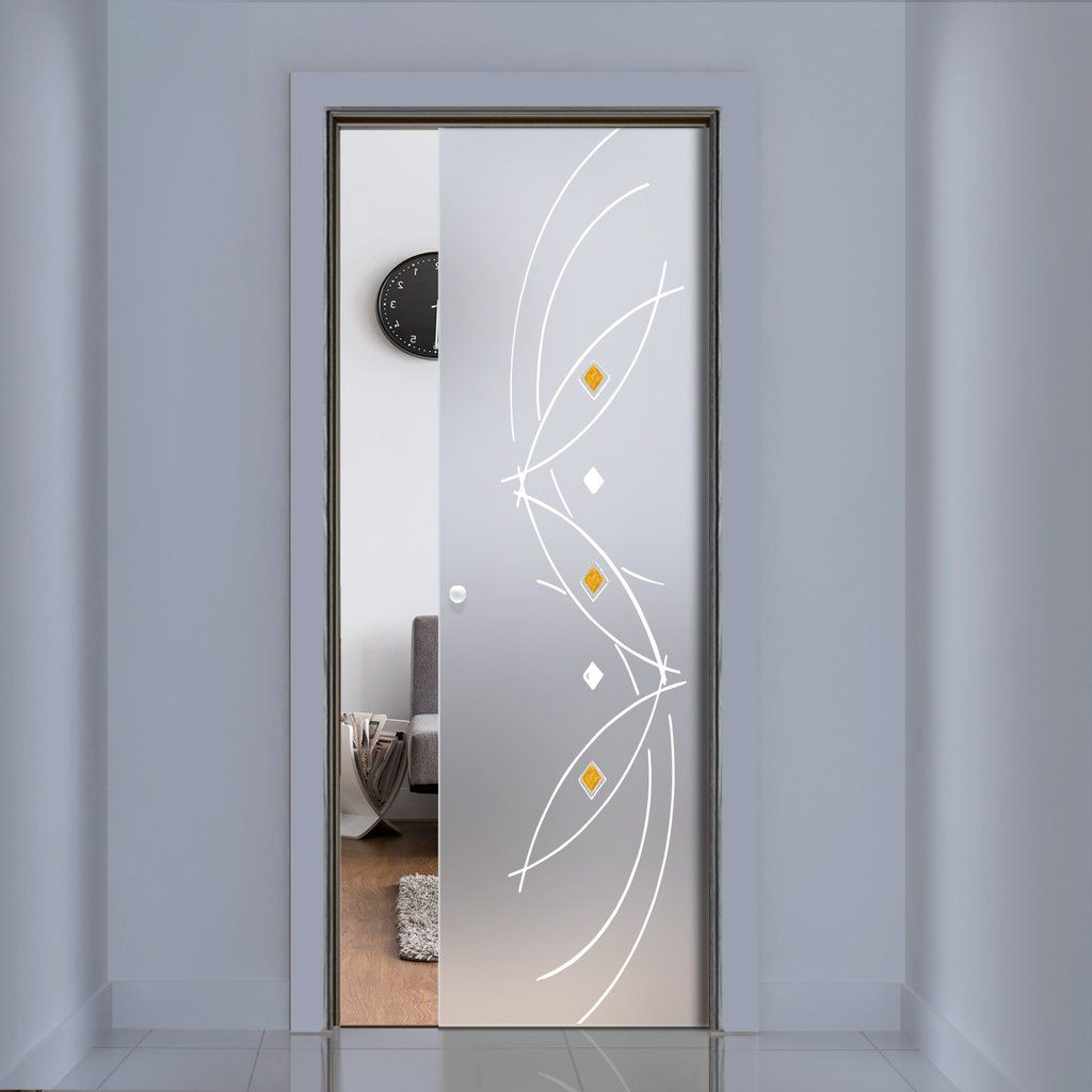 Eclisse 10mm Amir Murano Design On Clear Or Satin Glass Pocket Door
