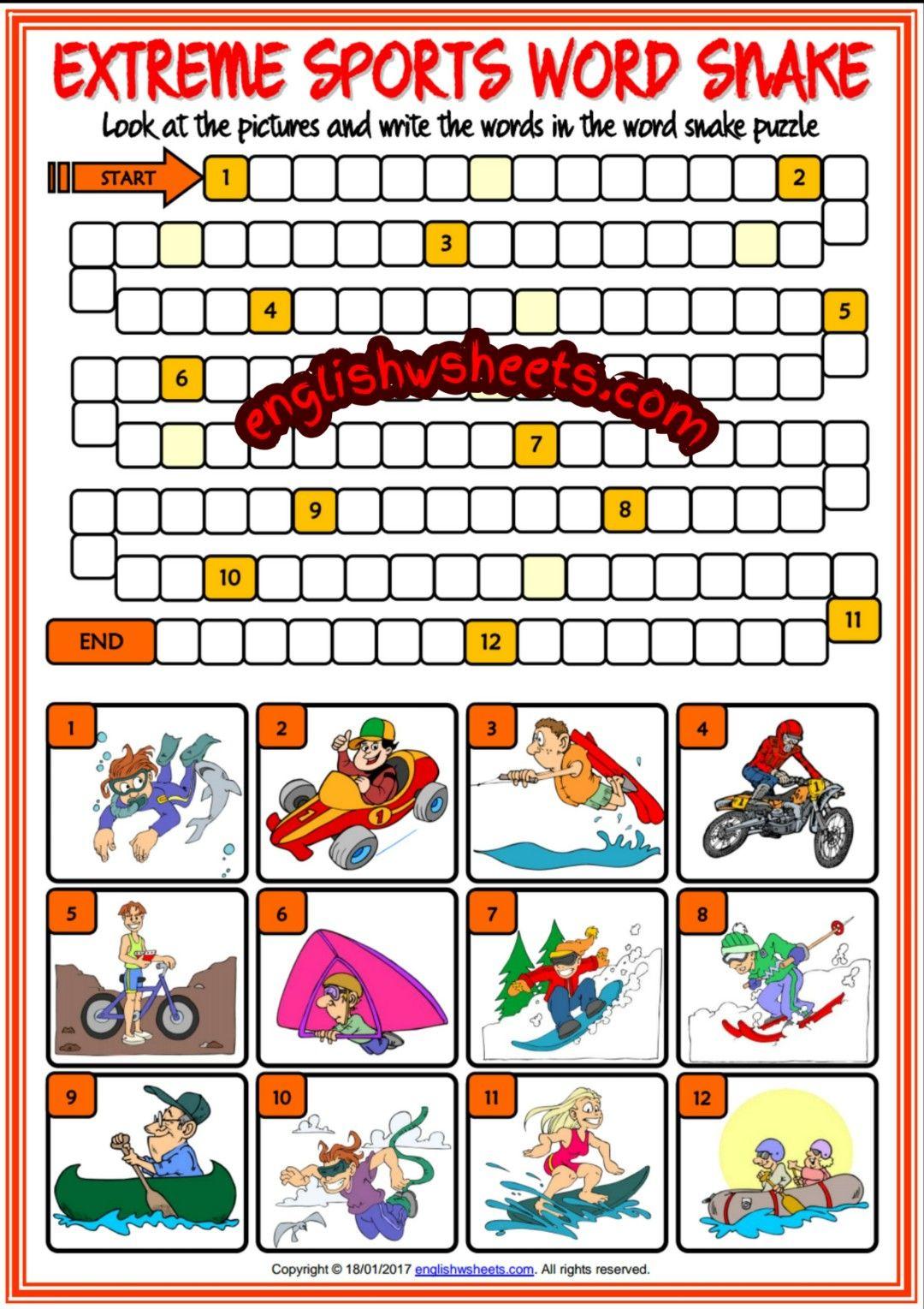 worksheet Sports Worksheets extreme sports esl printable word snake puzzle worksheet for kids kids
