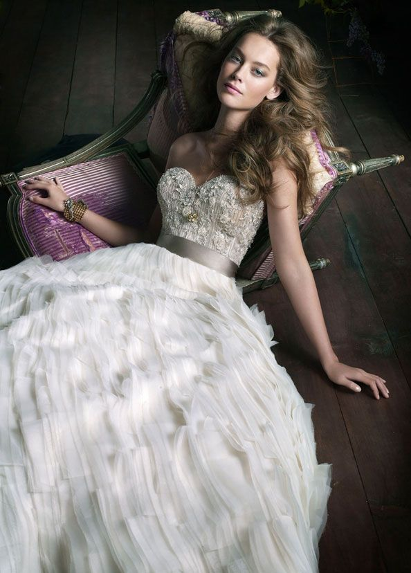 Ivory Organza Tufted Ball Bridal Gown Sweetheart Neckline Sheer Jewel Encrusted Bodice With Platinum