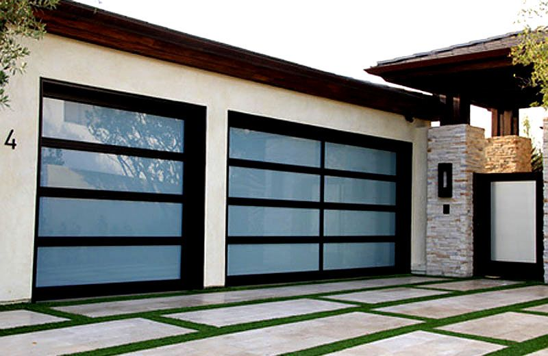 Elegant Black Aluminum Frame W White Tanslucent Glass Doors Glass Garage Door Garage Doors Unique Garage Doors