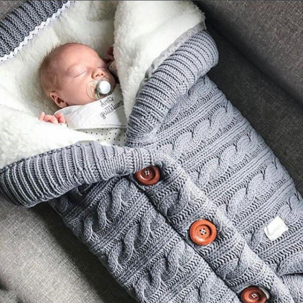Warm Baby Blanket Soft Baby Sleeping Bag Footmuff Cotton Knitting Envelope Newborn Swadding Wrap Stroller Accessories Sleepsacks Slaapzak Baby Slaapzakken Baby Inbakeren