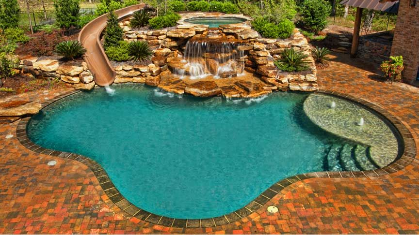 Rustic Swimming Pool With Fence, Exterior Brick Floors, Pathway, Raised  Beds, Pool With Hot Tub