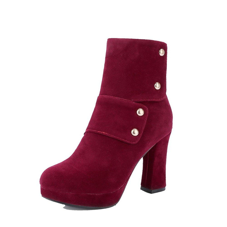 Women's Solid Dull Polish High Heels Zipper Round Closed Toe Boots