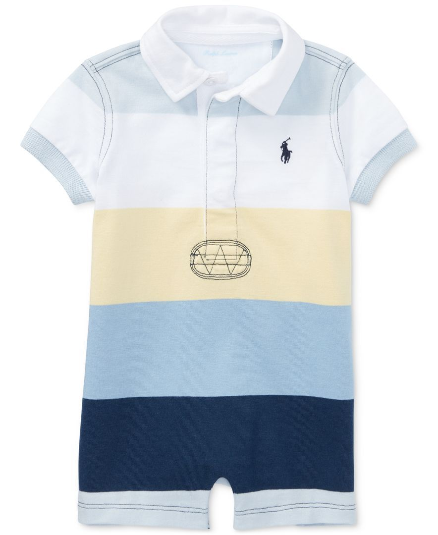 bc8f120d4 Rugby-inspired styling and bold stripes make a cute combo in this jersey  one-piece from Ralph Lauren. | All cotton | Machine washable | Imported |  Size 9 ...