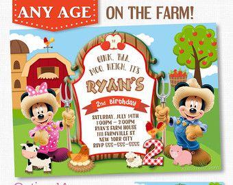 Minnie Mouse Farm Invitation Etsy Howdy Harlie In 2019 Mickey