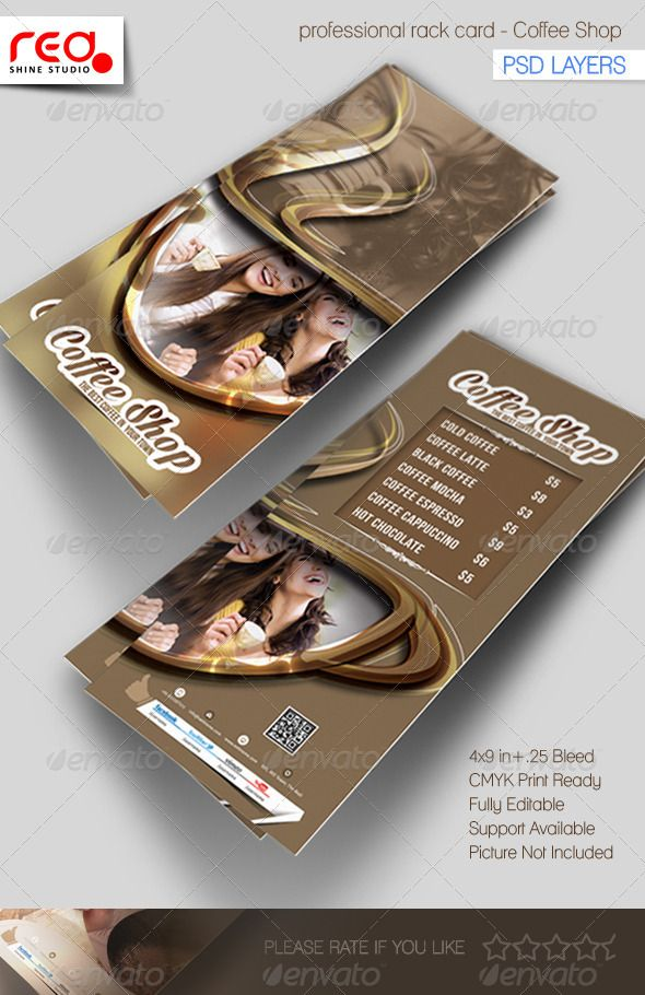 Coffee Shop Rack Card Template Card templates, Flyer template - coffee shop brochure template