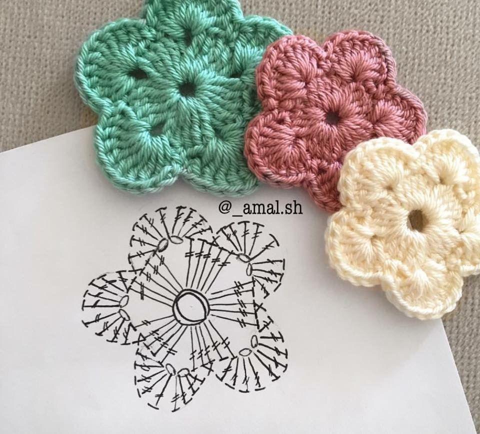 Flor con diagrama crochet https://www.facebook.com/media/set/?set=a ...