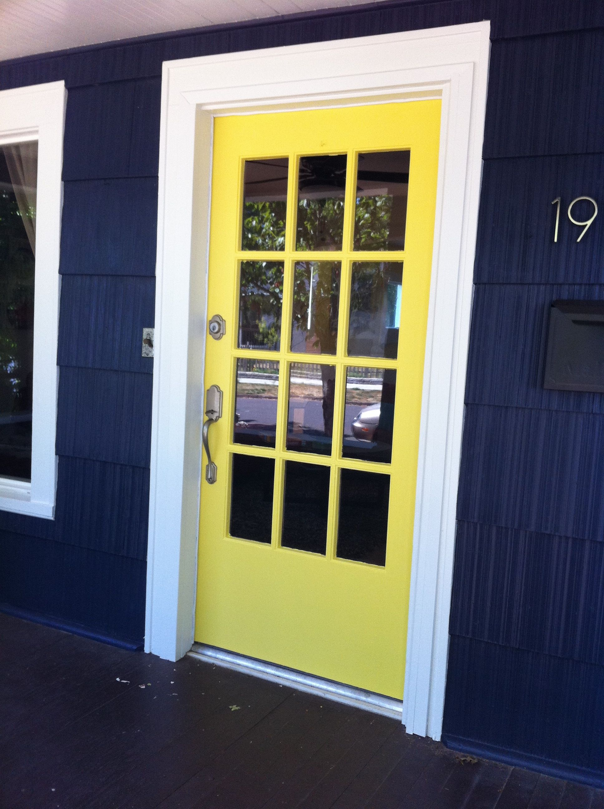 Yellow Front Door Brick House