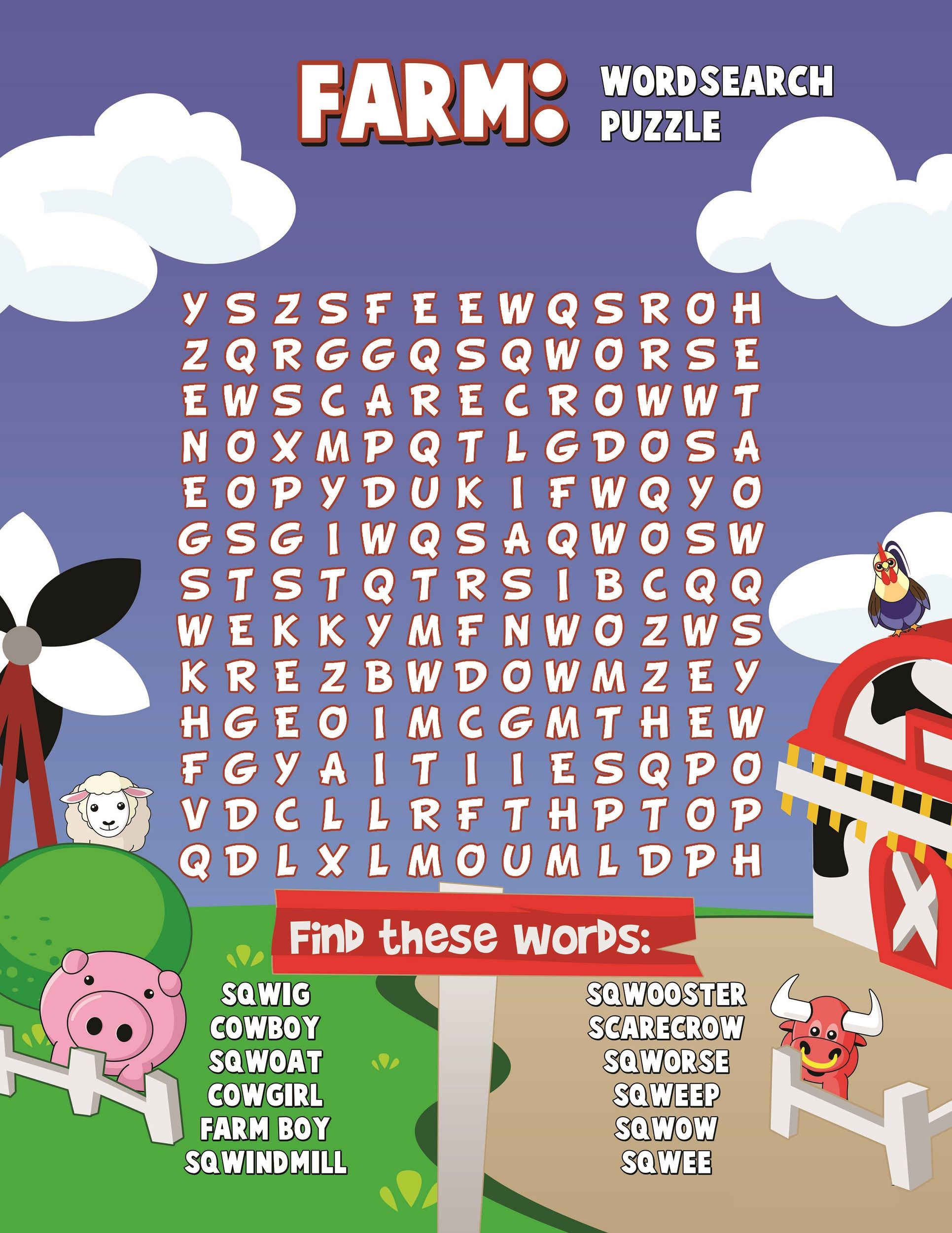 Farm Word Search Colorful