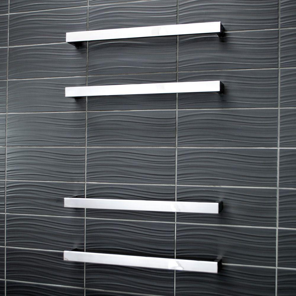 Rogerseller Fold Single 750 Heated Towel Rails: Radiant Square Heated Single Bar Towel Rail