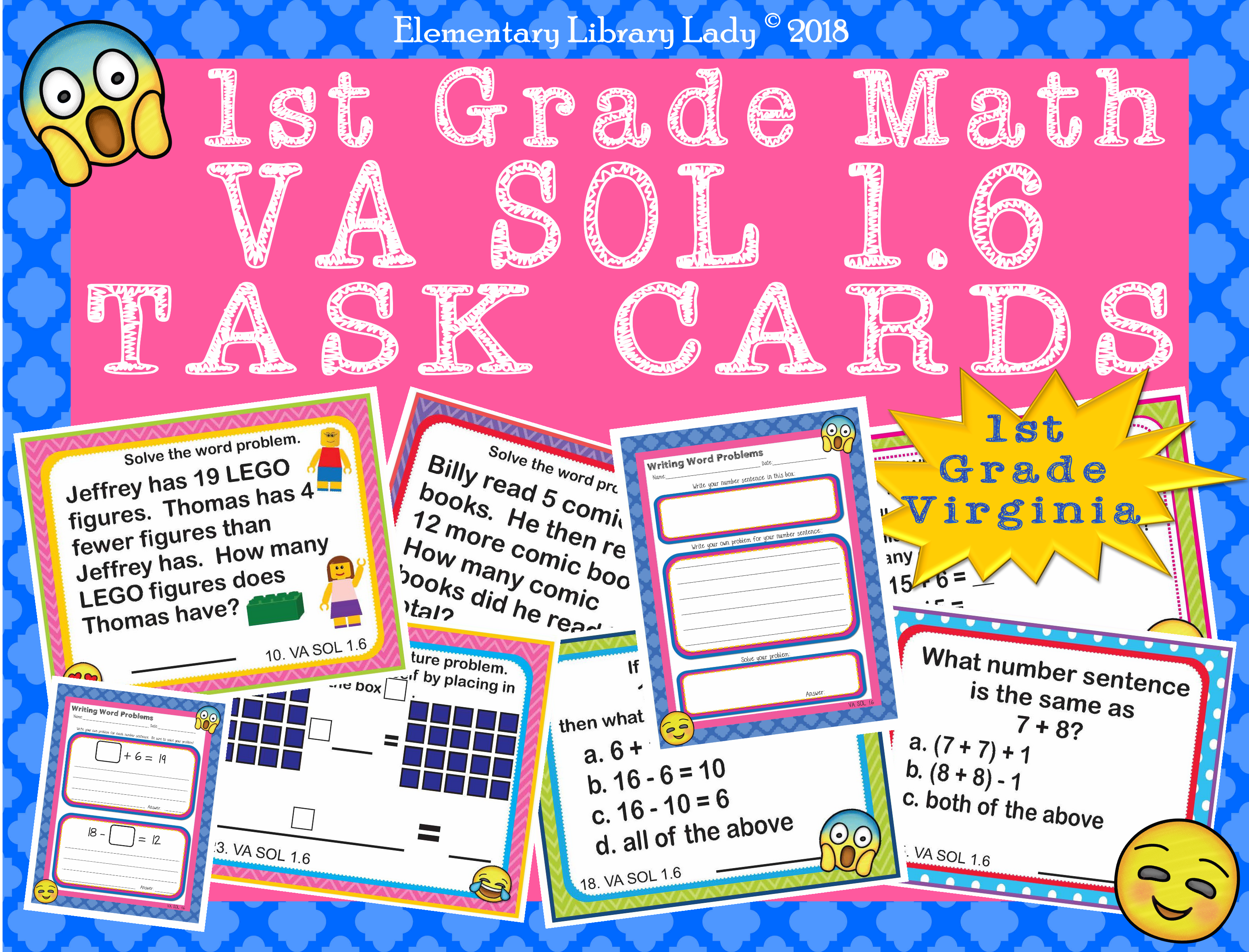 Virginia Sol Math 1st Grade Worksheets Task Cards Add