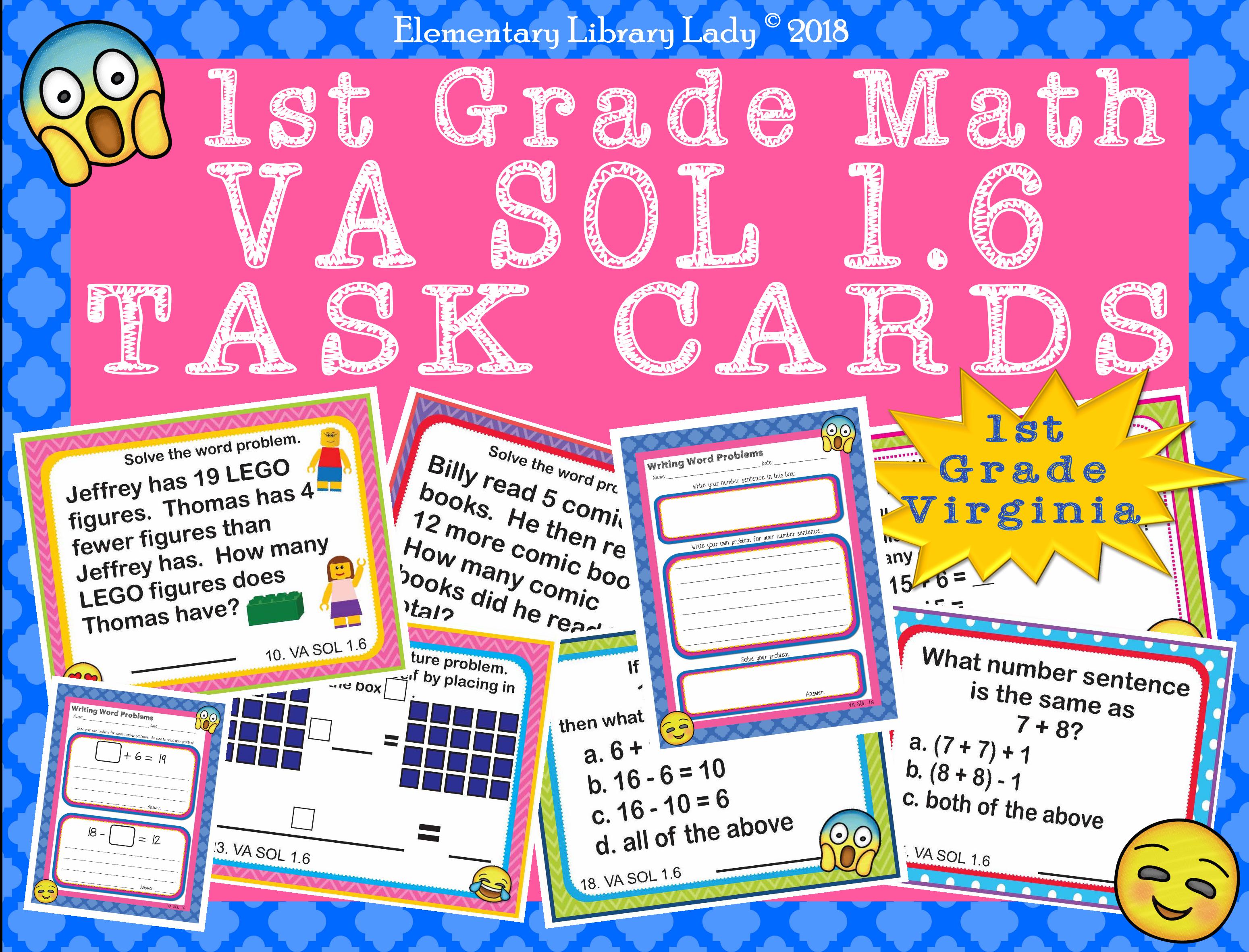 Virginia Sol Math 1st Grade Worksheets Task Cards Add