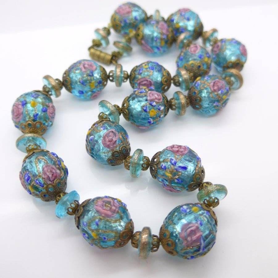 Vintage Venetian Glittering Foil Fancy Wedding Cake Rose Glass Bead Necklace Lampwork Glass Jewelry Murano Glass Jewelry Vintage Beads Necklace