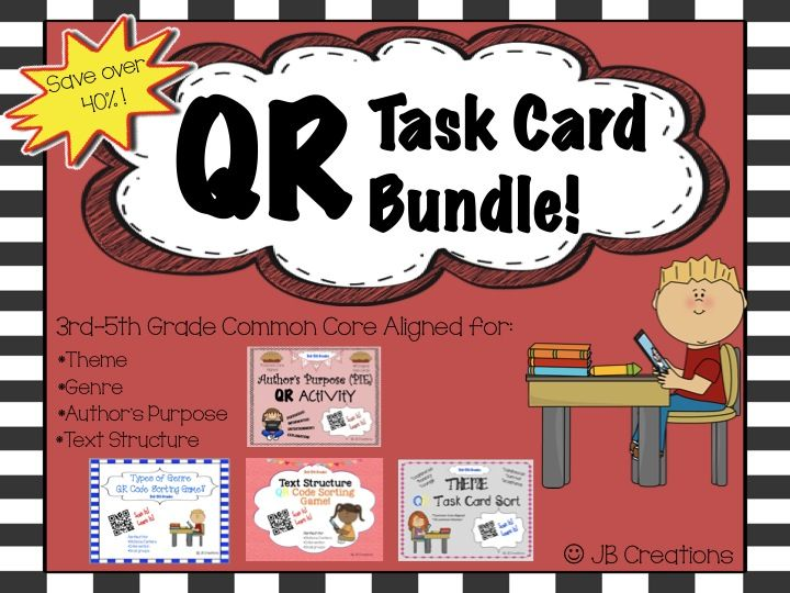 Engage your students with fun QR TECHNOLOGY and key COMMON CORE reinforcement at the same time! Download a QR app on your ipad or other device and you will have 4 meaningful, self-checking stations on text structure, theme, genre & author's purpose!  Save over 40% when purchasing this activity bundle (64 task cards!) http://www.teacherspayteachers.com/Product/QR-Common-Core-Activity-Bundle-3rd-4th-5th-grades-1316404